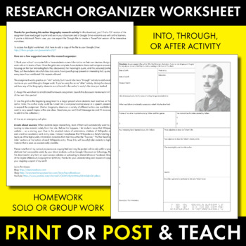 J.R.R. Tolkien Author Study Worksheet, Easy Author Biography Activity, CCSS