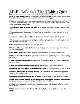 "J.R.R Tolkien's ""The Hobbit"" Final Exam (Answer Key included)"