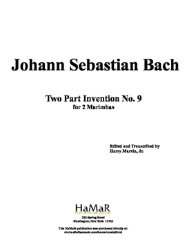 J. S. Bach 2 Part Inventions for Mallet Percussion (nos. 9-12)
