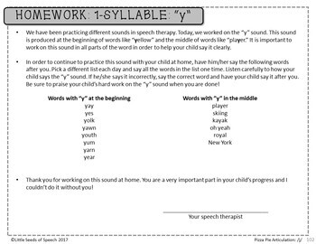 Y SOUND Pizza Articulation Cards for Single & Multisyllabic Words & Sentences