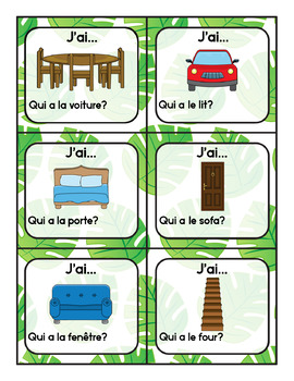 J'ai, Qui A? La Maison French House and Furniture Activity Vocabulary Game
