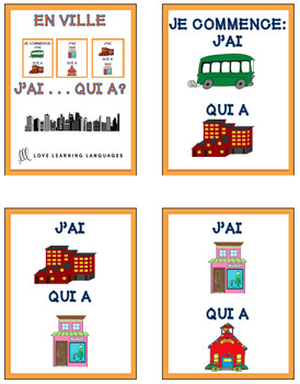 J'ai... Qui a? French EN VILLE vocabulary game
