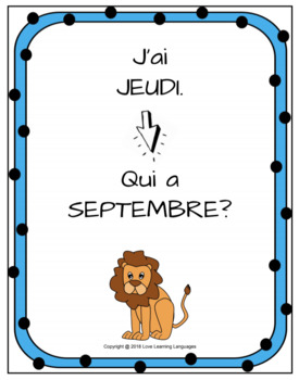 J'ai...Qui a?  French months, days, seasons - I have...Who has?
