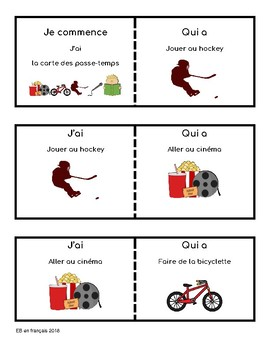 J'ai ... Qui a ? LES PASSE-TEMPS / Hobbies in French