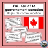 J'ai... Qui a? Le gouvernement canadien - French Oral Communication Activity