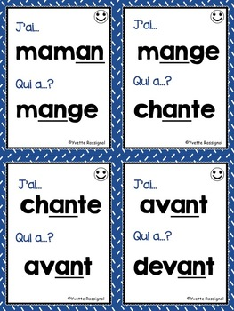 J'ai... Qui a...? Le son AN, EN  (French phonics) les sons, French Immersion