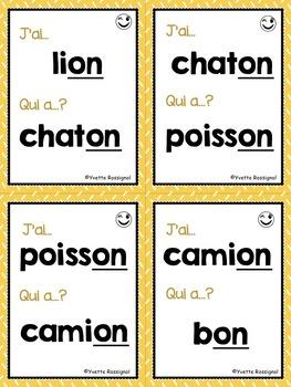 J'ai... Qui a...?  Mots fréquents, Le son ON (French phonics) lecture