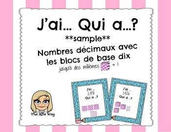 J'ai...Qui a? Nombres décimaux / FRENCH I have..Who has Decimal Numbers