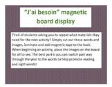 J'ai besoin...matériaux Magnetic Bulletin Board Display