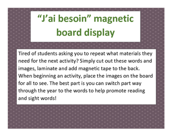 J'ai besoin...matériaux Magnetic Bulletin Board Display