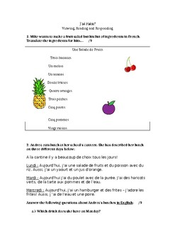 J'ai faim - food (reading & responding French)