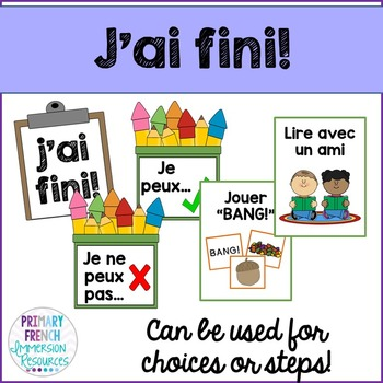 J'ai fini! French classroom management for early finishers