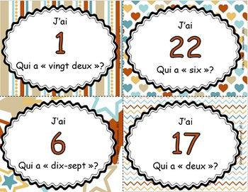 J'ai, qui a - Les nombres en lettres et en chiffres (1 à 25)