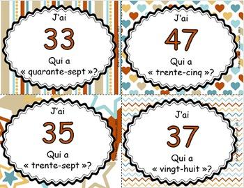 J'ai, qui a - Les nombres en lettres et en chiffres (26 à 50)