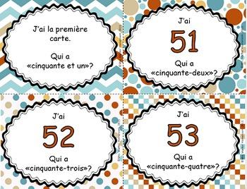 J'ai, qui a - Les nombres en lettres et en chiffres (51 à 75)