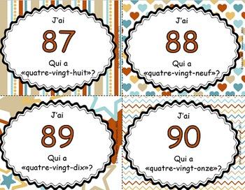 J'ai, qui a - Les nombres en lettres et en chiffres (76 à 100)