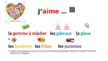 J'aime... Colors, animals, and foods.