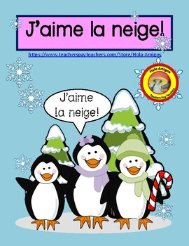 J'aime  la neige! - French color by number (6 pages)
