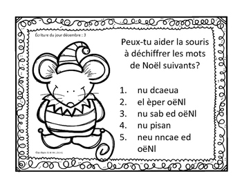 J'écris chaque jour DÉCEMBRE - Daily French Activities for French Immersion