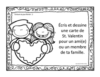 J'écris chaque jour FEVRIER - Daily French Activities for French Immersion