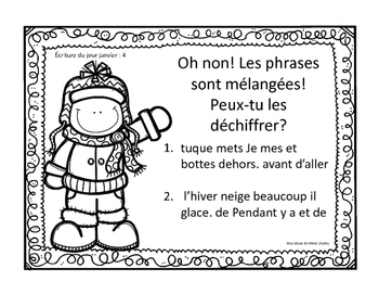 J'écris chaque jour JANVIER - Daily French Activities for French Immersion