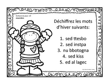 J'écris chaque jour NOVEMBRE - Daily French Activities for French Immersion