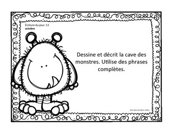 J'écris chaque jour OCTOBRE - Daily French Activities for French Immersion
