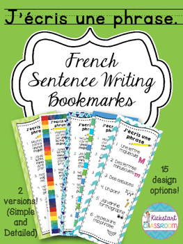 J'écris une phrase - French Sentence Writing Bookmarks