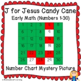 J for JESUS Candy Cane Christmas Early Math (1-30) Number Chart Mystery Picture