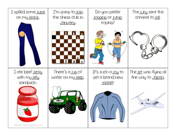 """J"" in Sentences Flash Cards for Articulation Practice"