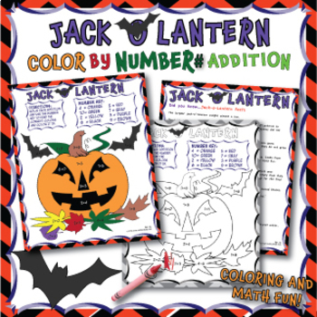 JACK O LANTERN Coloring by Numbers worksheet Addition (with sums up to 10)