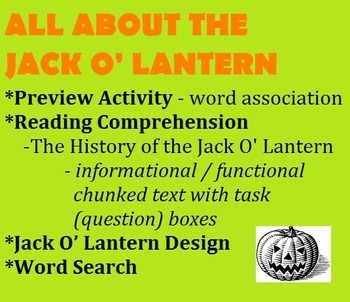 HALLOWEEN - THE JACK O' LANTERN - chunked informational/functional reading, etc.
