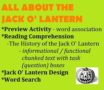 HALLOWEEN - THE JACK O' LANTERN - chunked informational/functional reading, etc.