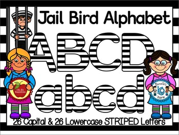 JAIL BIRD -BLACK & WHITE STRIPED CLIP ART LETTERS- 52 LETTERS (CU)