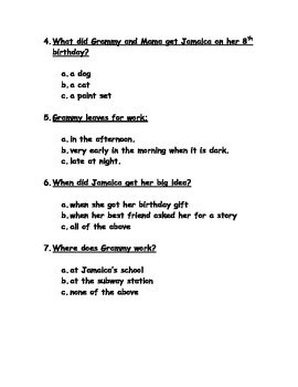 JAMAICA LOUISE JAMES READING COMPREHENSION QUIZ AND ANS KEY