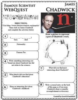 JAMES CHADWICK Science WebQuest Scientist Research Project Biography Notes