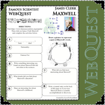 JAMES CLERK MAXWELL - WebQuest in Science - Famous Scientist - Differentiated