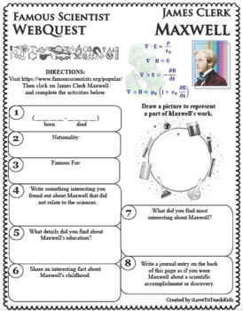 JAMES CLERK MAXWELL Science WebQuest Scientist Research Project Biography Notes