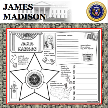 JAMES MADISON POSTER U.S. President Research Project Biography