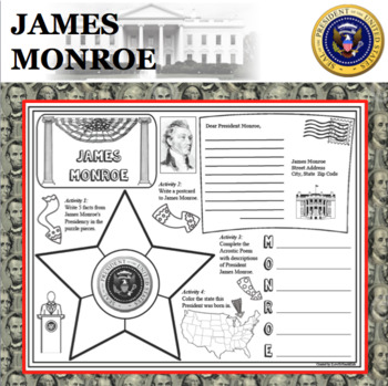 JAMES MONROE POSTER U.S. President Research Project Biography