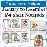 JAN TO DEC 1/4 PAGE NOTEPADS