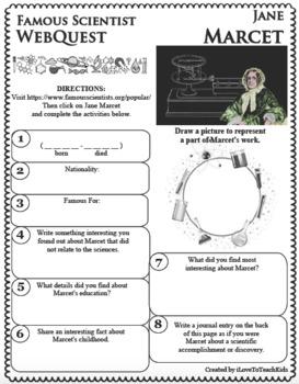 JANE MARCET Science WebQuest Scientist Research Project Biography Notes