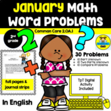 JANUARY - 2ND GRADE MATH WORD PROBLEMS IN ENGLISH - CCSS 2.0A.1