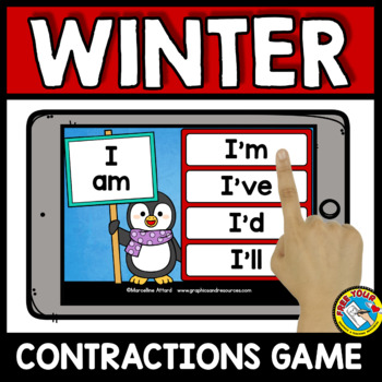 FEBRUARY ACTIVITIES FIRST GRADE (WINTER CONTRACTIONS 2ND GRADE) BOOM CARDS