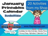 January Printables Calendar + (BONUS) Teacher Classroom Files