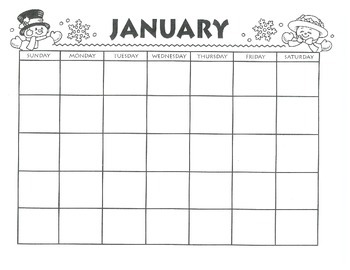 JANUARY CALENDAR - Free Download - Winter Snowman