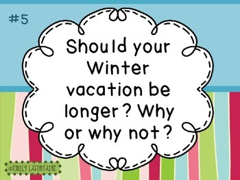 JANUARY Writing Prompts (30 count) - task cards and posters *New Year's Day*