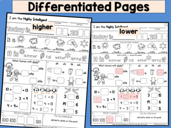 Morning Work: First Grade January Packet (Winter Differentiated Common Core)