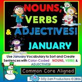 JANUARY LITERACY! Nouns, Verbs & Adjectives Activities!