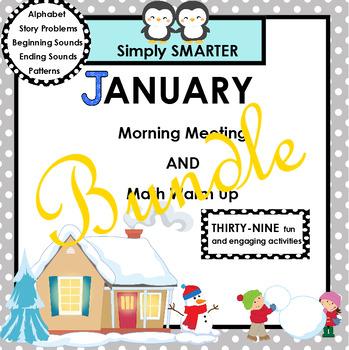 JANUARY MORNING MEETING AND MATH WARM UP BUNDLE